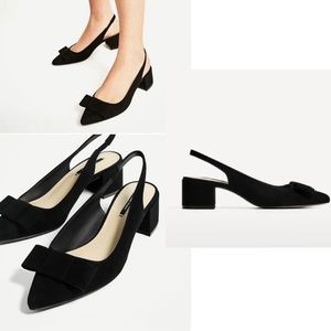 ZARA Block Heel Bow Slingbacks